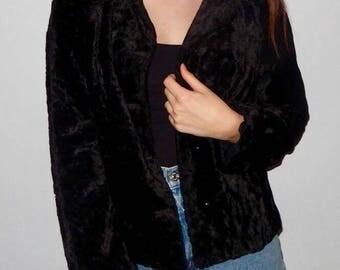 Retro Black Faux Fur Coat