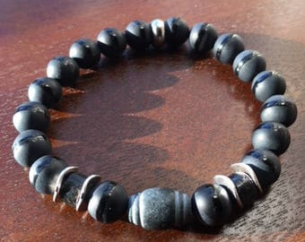 Men's 10mm Matte Black onyx gemstone bead bracelet with stone focal.  Manly.  Rugged.