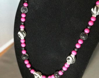 Pink, Black and Zebra beaded necklace