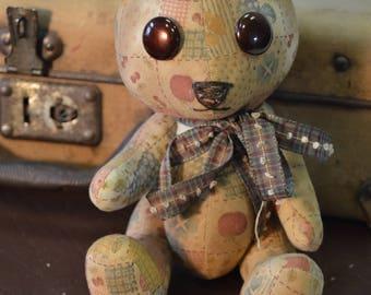 Teddy Bear, Toy Teddy Bear, Brown Teddy Bear, Handmade Teddy Bear, Sewn Bear, OOAK Teddy, Teddy Bear Boy, Gift Teddy Bear, Collectible, Alan