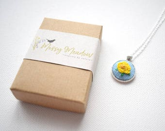 Hand Embroidered Yellow Rose Pendant, Mini Pendant, Rose Necklace, Yellow Rose Necklace