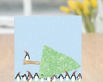 Teamwork - Penguin Christmas Card
