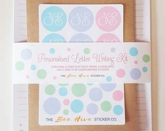 Personalised Letter Writing Stationery Kit - Pastel Penpal Letter Writing Gift