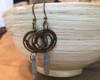 Handmade Brass Earrings | Bronze Earrings | Dangle Earrings | Vintage Style Earrings | Medallion Earrings |Tribal Style Earrings