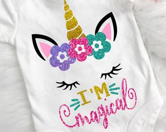 Baby svg - Unicorn svg - Magical svg - New baby svg - Baby girl svg - Spring shirt svg- Cut files- Printable - Iron on - svg,dxf,png,pdf,eps