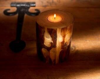 Large Rustic Tea Light Holder and Incense Burner, Birch Log