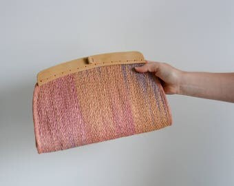 Pastel pink and lavender sisal clutch