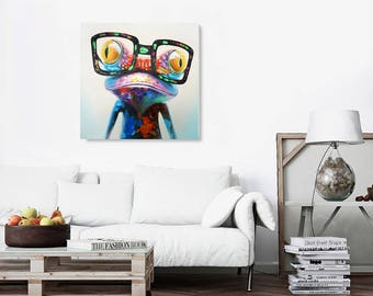 100% Hand-Painted Oil Paintings Colorful Funny Frog Modern Animal Artwork Canvas Stretched Wood Framed Ready to Hang for Wall Décor
