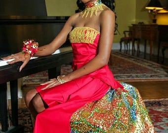 Special Occasion Dress with African Fabric Infused