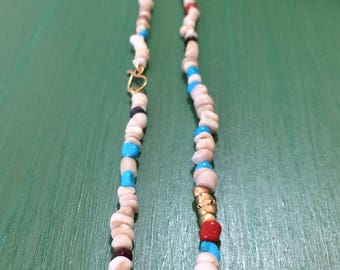Necklace Design! ancient pottery, turquoise, coral and yellow gold, sapphires. Handmade.