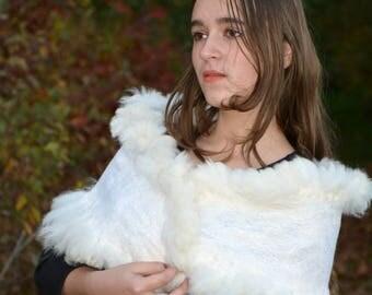 White wool scarf felt unique shawl winter fashion neckwarmer Nuno felted accessories fur white stole women collar yarn wool chunky