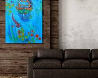 printable acrylic painting ,printable wall art, crocodile painting, printable lake painting, original painting for sale