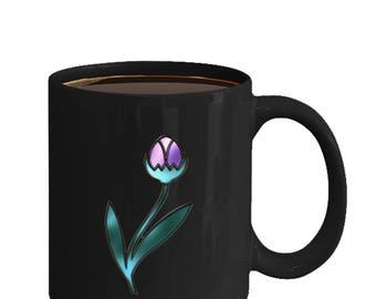 Stained Glass Art Design Purple Tulip - Art Nouveau coffee and tea mug ceramic 11oz or 15oz