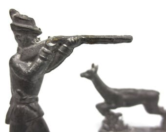Vintage Antique Lead Toy Shooting Hunter and Running Deer Figurines, England