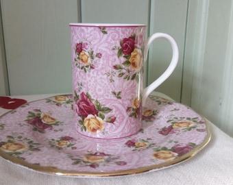 Royal Albert Dusky Pink Lace Bone China Tea Plate and Mug