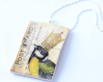 Chickadee Bird Necklace