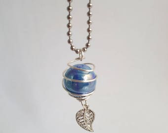 Silver Wire Wrapped Blue Marble with Silver Charm