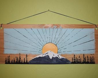 Wood Sign Pacific Northwest Mountain Sunrise Landscape