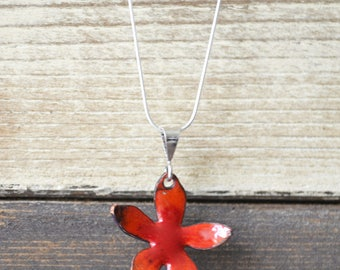 Red Enamel Flower Pendant