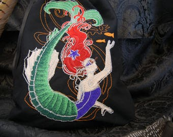 Embroidered bag with steampunk-mermaid from cotton