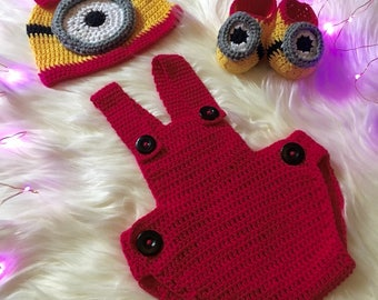 Hand Crochet Minion Baby Beanie, bodysuit and booties/ Crochet Baby Clothes/ Cotton Baby Knitwear/ Kids Winter Clothes/ Minion