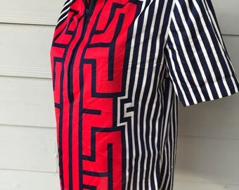 Red, White and Blue in a Wornan's Short Sleeve Zip-front Shirt