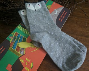 Woodland Creature Socks in Grey Fox