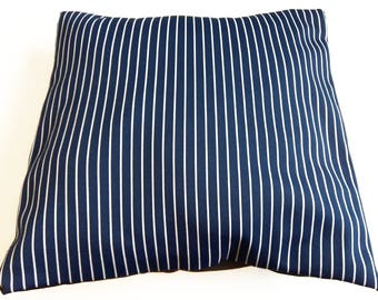"Pillow cover 16"" x 16"" - Striped navy blue and white"