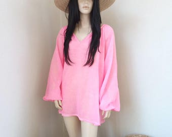 ALINE tunic - Cotton Voile - one size - Beach - Bohemian - Boho - Hippie - Ibiza - Gypsy - Beach dress - pink - Beachwear - Zen