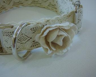 Vintage Ivory Lace Wedding Dog Collar