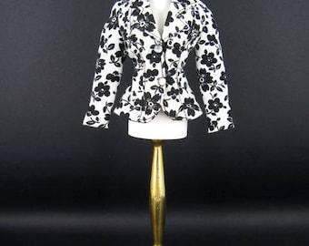 "Vintage Circa 1990 BillyBoy Mdvanii Doll Le Smart Set ""Veste"" No.6  Black and White Liberty of London print jacket"