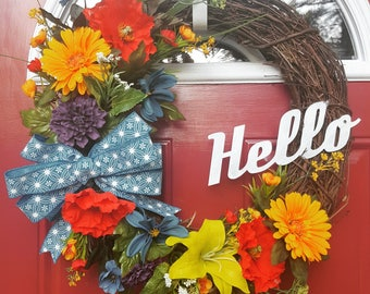 Well Hello There Wildflower grapevine wreath