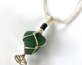 Hemp Wrapped Aventurine Stone Necklace