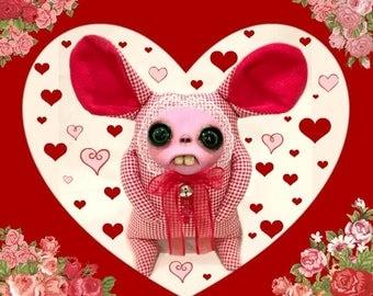 House of Ziggy - art doll bunny handmade valentine ooak cute creepy goth kawaii unique birthday polymer clay sculpey plush stuffed animal