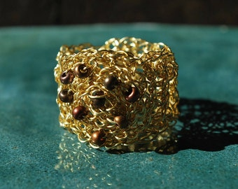 Gold Ring with Glass Beads