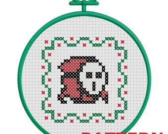 Shy Guy Christmas Ornament Counted Cross Stitch PATTERN / Super Mario Shy Guy Cross Stitch / Mario Shyguy Christmas Ornament Cross Stitch