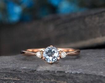 Aquamarine Engagement Ring Rose Gold 3 Stone Ring Diamond Thin Minimalist Birthstone March Promise Ring Anniversary Bridal Half Eternity