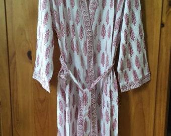 Lightweight summer cotton block printed dressing gown robe