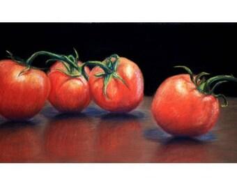 Vine Tomatoes Pastel Drawing Print