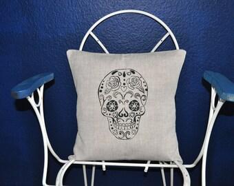 Calavera linen pillow cover
