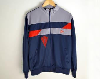 Puma jacket M Vintage jacket 90s jacket Vintage Windbreaker Bomber jacket 90s Vintage sport Vintage jacket Puma Blue jacket Puma windbreaker