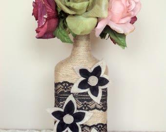 Vase Bottle Black Flowers