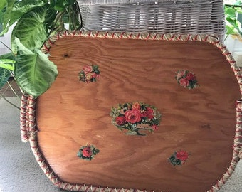 Vintage Handmade Wooden Tray with Handles and Floral Decals