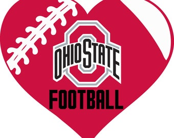 Ohio State Buckeyes Football Heart Monogram digital file for decal for car, window, yeti SVG PNG DXF and more!!