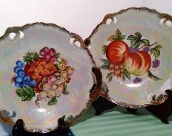 2 Lusterware Handled Fruit Plates, Japan