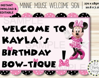 Instant Download Editable Pink and Black Minnie Mouse Welcome/Door sign