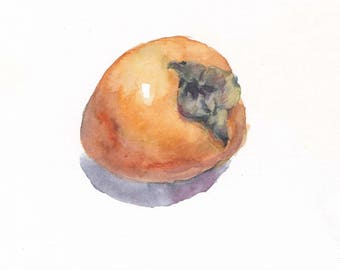 Original watercolor / Persimmon / Botanical watercolor / Small picture / Persimmons artwork / Persimmon on white background / Mini persimmon