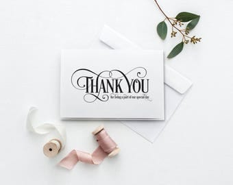 Thank You For Being Part Of Our Special Day Card | Printable Wedding Card | Wedding Thank You Card | Our Special Day Card | Thank You Card