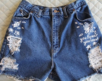 "Harry Styles ""Woman"" Inspired Hand Painted and Distressed High Waisted Shorts"