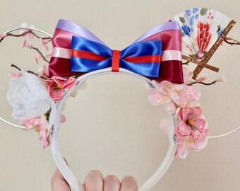 Mulan Inspired Handmade Wire Floral Mickey Ears - Disney